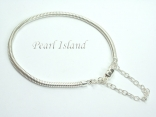 """Sterling Silver Bracelet for Murano Beads with Safety Chain _7.5""""/19cm"""