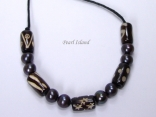 Pearls for Men - Black Pearl with Batik Tube Necklace