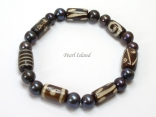 Pearls for Men - Black Pearl with Batik Tube Bracelet