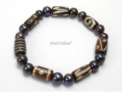 Pearls for Men - Black Pearl with Batik Tube Bracelet