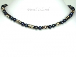 Black Pearl with Batik Tube Elastic Necklace