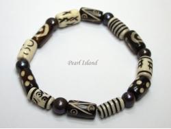 Pearls for Men - Black Pearl with BW Batik Tube Bracelet