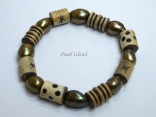 Pearls for Men - Green Baroque Pearl with Batik Beads Bracelet