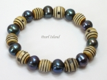 Pearls for Men - Black Baroque Circle Pearl with Batik Beads Bracelet