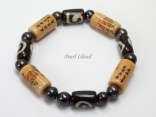 Pearls for Men - Black Pearl with Chinese Lucky Tube and Batik Bracelet