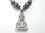 Pearls for Men - Black Pearl with Lucky Buddha Necklace
