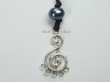 Pearls for Men - Black Pearl with Musical Clef Necklace