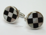 Mother of Pearl - Black & White Round Cufflinks