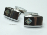Mother of Pearl - Greenish & Black Rectangular Cufflinks