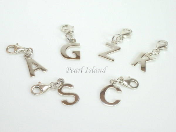 Sterling silver initial pendant and earrings sterling silver initial charm mozeypictures Images